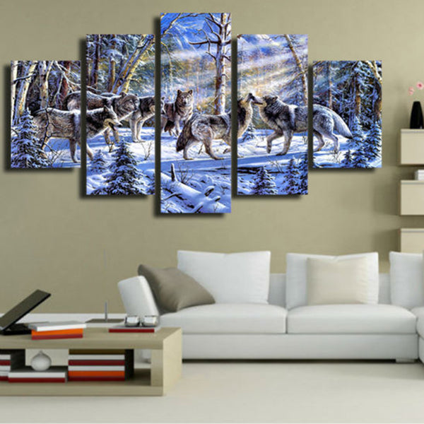 Art Live Wall Decoration Frames Modular Pictures Landscape Oil Painting Fashion 5 Panel Animal Wolf Canvas Painting Modern
