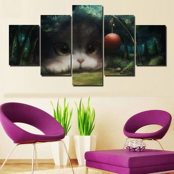 Modern Canvas Painting Wall Art Modular Posters 5 Pieces/Pcs Super Cute Cat HD Printed Frame Pictures Home Decor Living Room