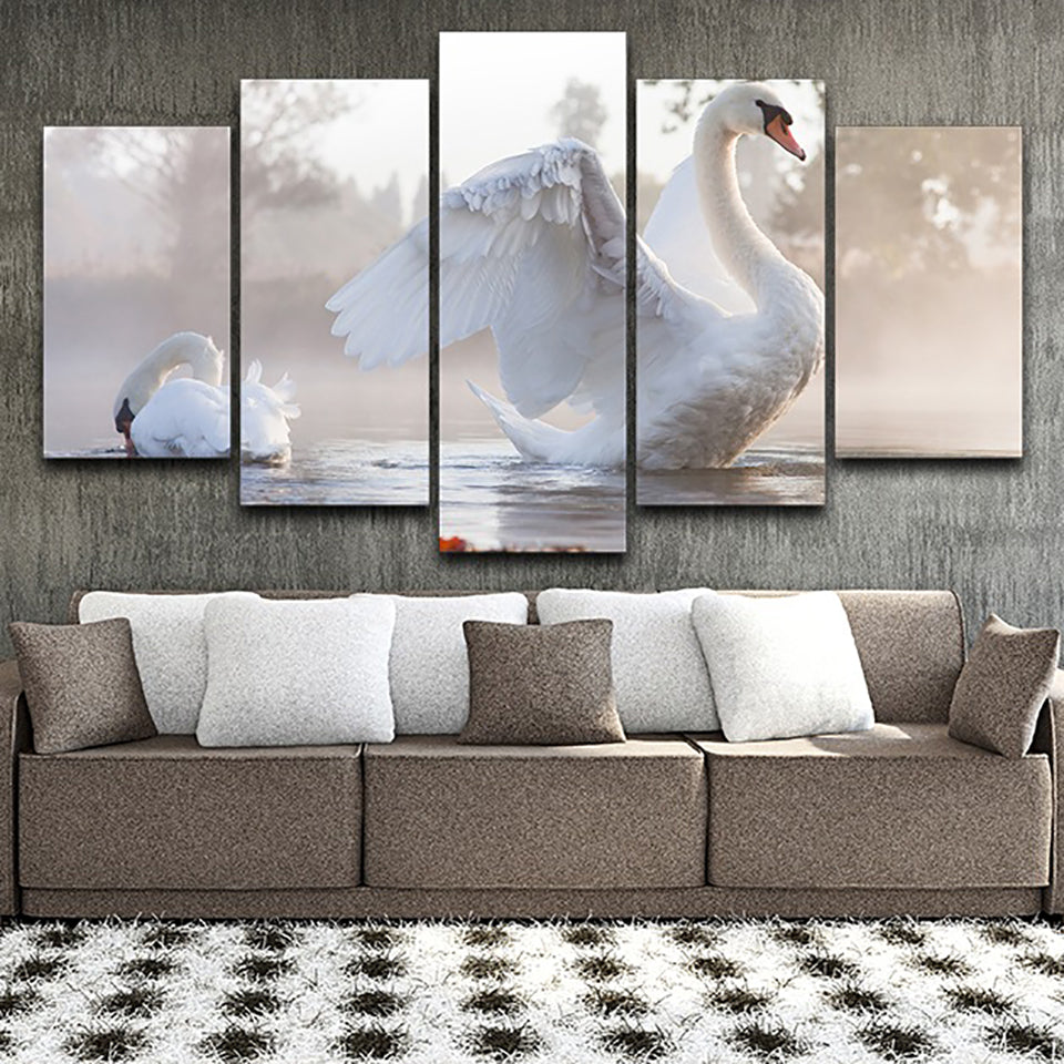 Decor Printed Pictures Painting Wall Art Modular Poster 5 Panel White Swans Animal Modern Canvas Living Room Framework HD Home