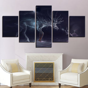 Frame Wall Art Poster Home Decor Modern Canvas HD Print 5 Piece/Pcs Glowing Water Deer Painting Modular Pictures Living Room