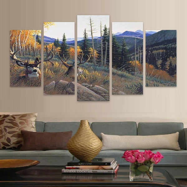 Pictures Posters Frame Living Room HD Printed Painting 5 Piece/Pcs Elk Deer Autumn Landscape Modern Wall Art Home Decoration