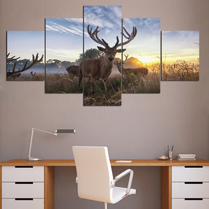 Living Room Pictures Painting Modular Poster Wall Art 5 Panel Animal Deer Framework HD Printed Modern Home Decoration Canvas