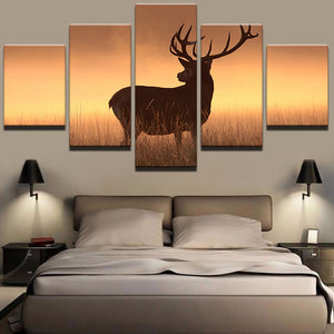 Wall Art Home Modern Painting Frame Living Room HD Printed 5 Panel Grassland Deer Modular Decoration Posters Picture On Canvas