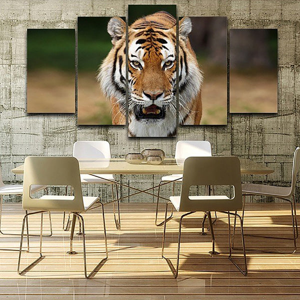 Pictures Painting Wall Art Modular Poster Home 5 Panel Forest Animal Tiger Framework HD Printed Modern Canvas Living Room Decor