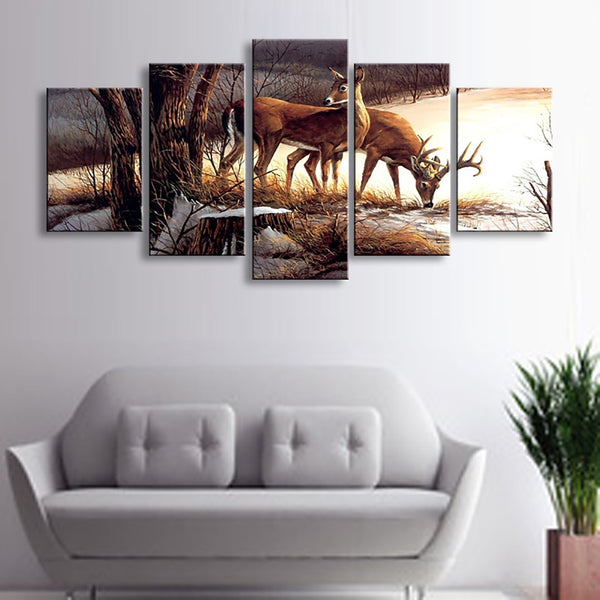 HD Printed Modern Pictures Home Decor 5 Panel Deer Landscape Painting Wall Artwork Modular Poster Framework Canvas Living Room