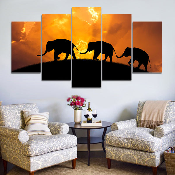 Home Decor Posters Frame Living Room 5 Piece/Pcs Sunset View Elephant Modern Painting On Canvas Wall Art Pictures HD Printed
