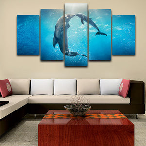 Modular Posters Living Room Pictures Home Decor 5 Panel Dolphins Blue Ocean Frame HD Printed Modern Canvas Painting Wall Art