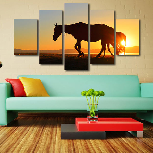 HD Printed Modern Wall Art Painting Modular Canvas 5 Piece/Pcs Sunset Animals Horse Home Decor Living Room Pictures Framework