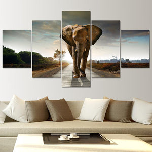 Wall Art Prints Framed Home 5 Panel Elephant Fashion Canvas Animal Painting Decoration Modular Pictures For Living Room