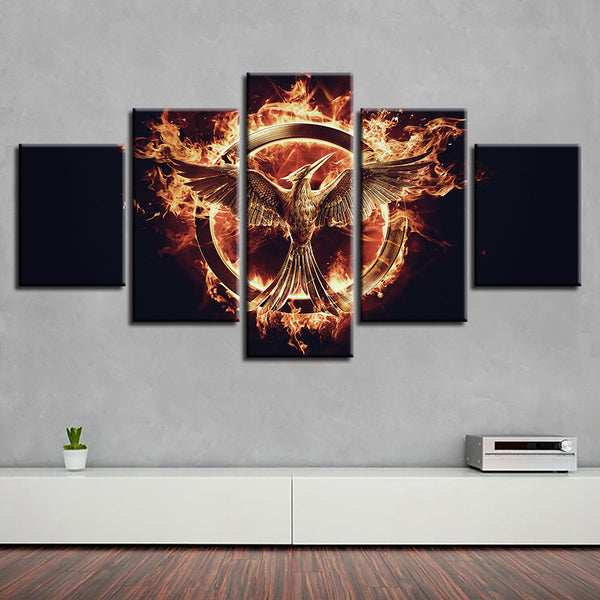Poster Canvas Painting Living Room Wall Art Frames 5 Panel Animal Flame Bird Modular Printed Cuadros Decoration Pictures