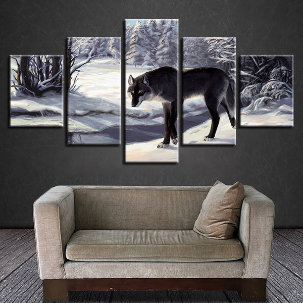Canvas Art Print Modular Painting Poster Wall Picture 5 Panel Animal Black Wolf For Home Decoration Kids Room Framework
