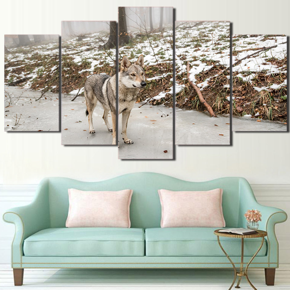 Pictures Home Decor Wall Art Living Room 5 Piece/Pcs Forest Grey Wolf HD Printed Modern Canvas Painting Modular Poster Frame
