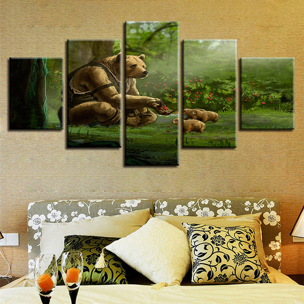 Art Posters Modern HD Print Painting Home Decor 5 Panel Forest Brown Bear Framework Wall Living Room Canvas Modular Pictures