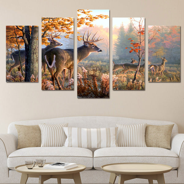 Decor Living Room HD Printed Canvas Poster Wall Pictures 5 Panel Animal Deer Forest Landscape Art Painting Modular Frame Home