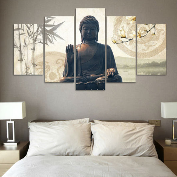 Home Decor Canvas Oil Painting Top-Rated 5 Panel Buddha Modular Framework Pictures Wall For Living Room Fashion Modern Type