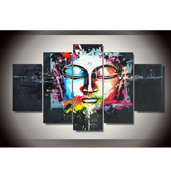 Canvas Framework Painting 5 Panel Buddha Printed Modular Picture Large For Bedroom Living Room Home Wall Art Decoration