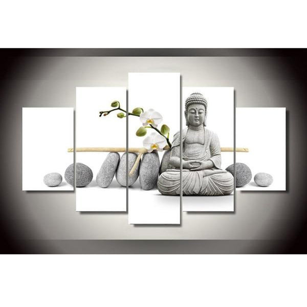 Modern Cuadros Decoration Canvas Art Framework 5 Panel Buddha Orchid Flower Painting Modular Picture Wall For Living Room