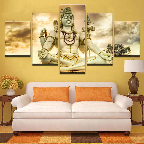 Home Decor Living Room Pictures Painting 5 Piece/Pcs India God Shiva Framework HD Printed Modern Canvas Wall Art Modular Poster