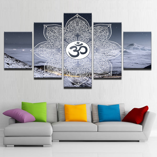 Canvas Painting Poster For Living Room Modern 5 Panel Om Symbol Buddha Yoga Wall Art Home Decor Framework HD Printed Pictures