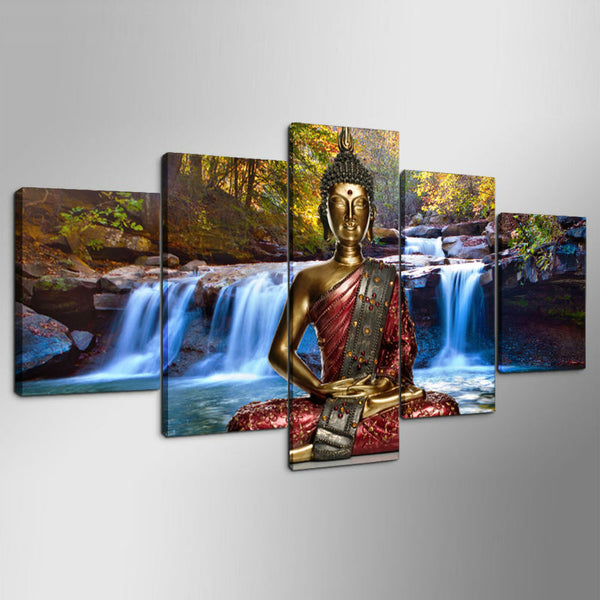 Decor Frame For Living Room Canvas Painting Poster 5 Panel Buddha Waterfall Landscape Wall Art Home Modern HD Printed Pictures
