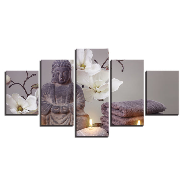 Art Decor Home Picture Large Flower Printed Canvas Framework Modular Wall 5 Panel Buddha Painting For Bedroom Living Room
