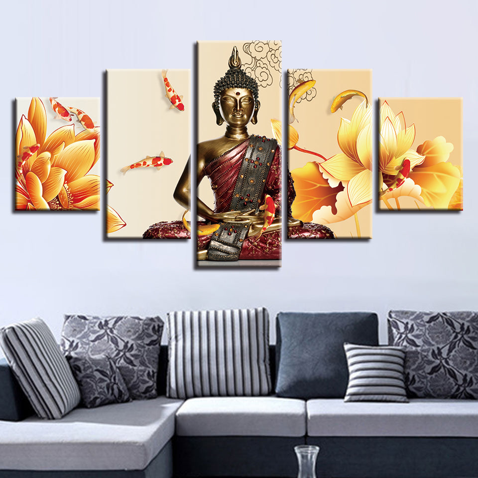 Art Painting Modular HD Printed Canvas Poster Framework 5 Panel Yellow Flower Buddha Home Decor Living Room Wall Pictures