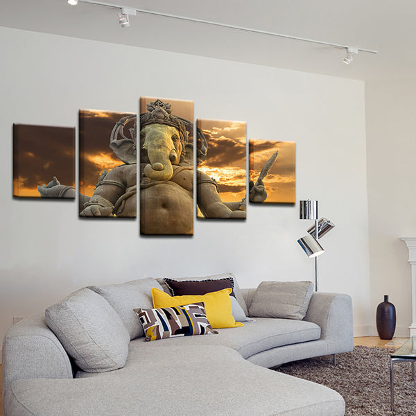 Wall Art Poster Modern Home Decor Living Room 5 Panel Elephant God Ganesha Framework Canvas HD Print Painting Modular Pictures