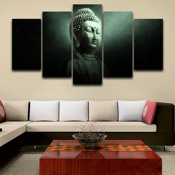 Canvas HD Print Home Decor Painting Modular 5 Piece/Pcs Buddha Landscape Framework Wall Art Poster Modern Living Room Pictures