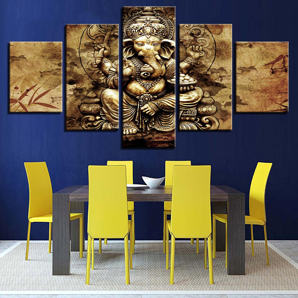 Poster Home Decoration Wall Modular Painting Frame Art 5 Panel Lord Ganesha Modern Picture Print On Canvas For Living Room