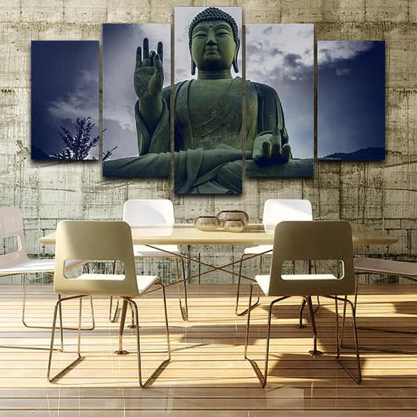 Home Frame Living Room HD Printed Modern Painting 5 Piece/Pcs Stone Buddha Modular Decoration Poster Picture On Canvas Wall Art