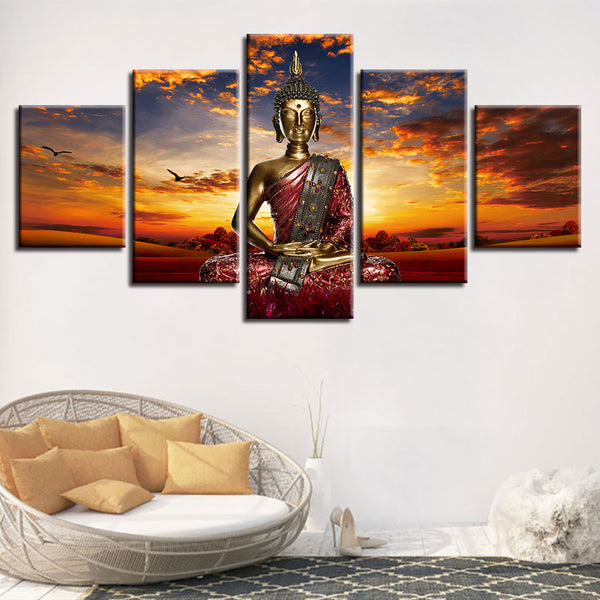 Home Decor Living Room Wall Art Painting Modular Pictures 5 Panel Sunset Landscape Of Buddha Framed HD Printed Modern Canvas