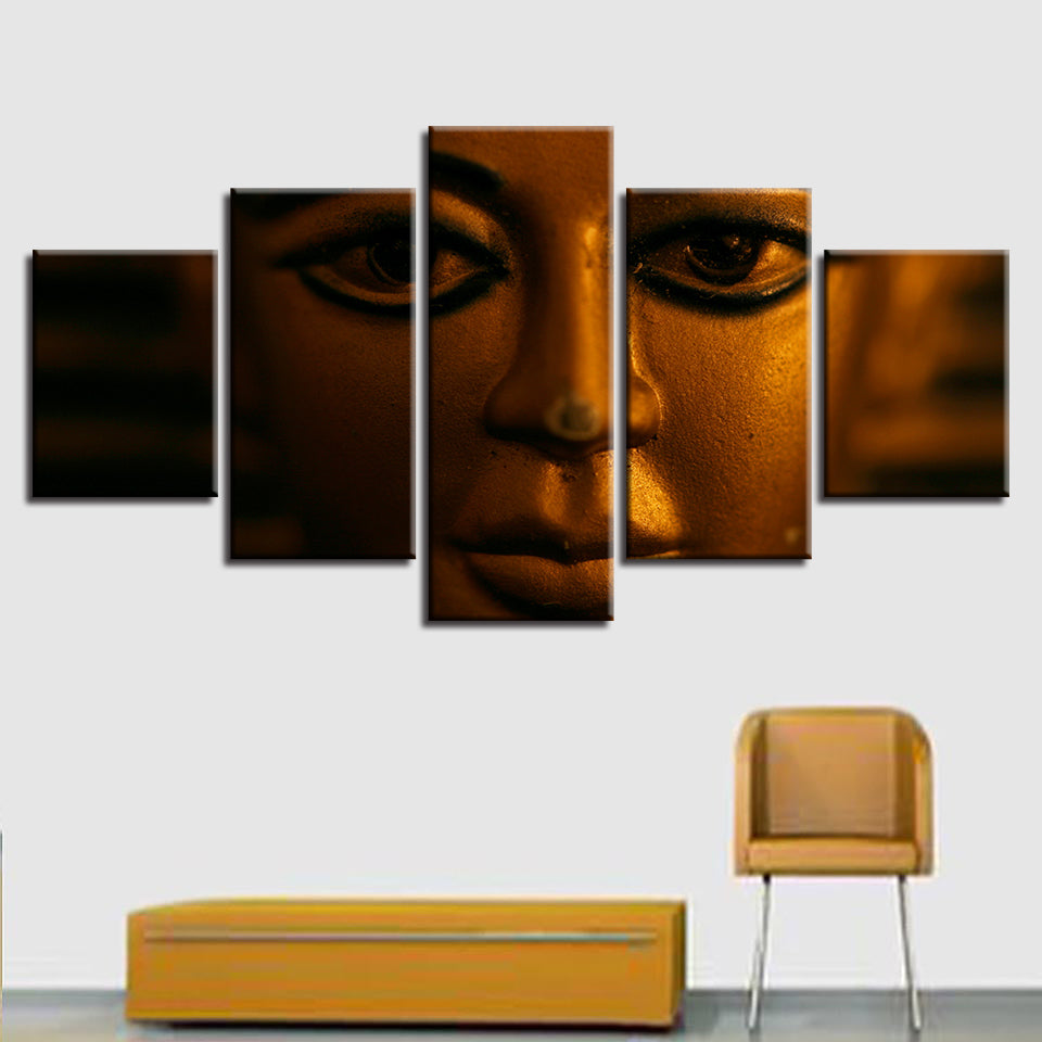 Canvas Art Prints Poster Wall Modular Picture Home 5 Panel Gold Buddha Decoration Living Room Modern Paintings Artwork