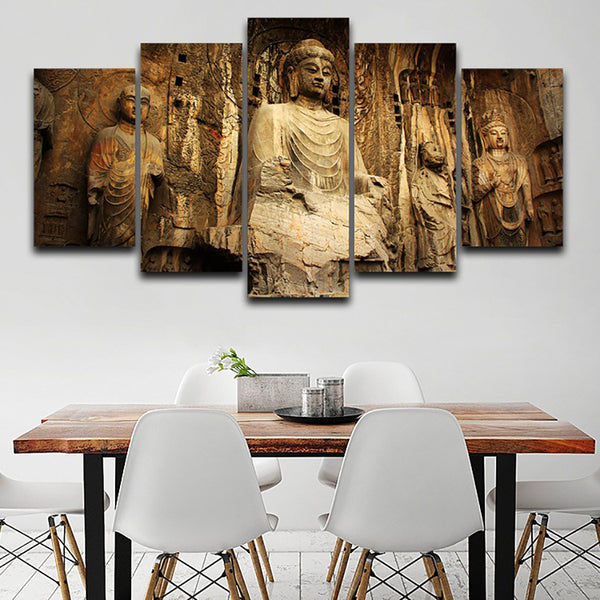 Canvas HD Print Wall Art Painting Modular Pictures 5 Panel Stone Buddha Landscape Frame Poster Modern Home Decor Living Room