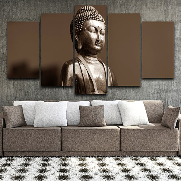 Framework Living Room Wall Art Pictures HD Printed 5 Piece/Pcs Buddha Statue Modern Painting On Canvas Home Decoration Poster