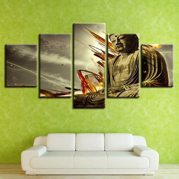 Canvas Wall Art Pictures Framework Home Decor Room 5 Panel Buddha Statue Landscape Poster HD Printed Abstract Painting