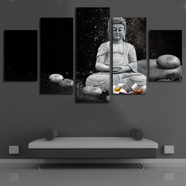 Modular Poster Home Decor Framework HD Printed 5 Panel Stone Buddha Painting Wall Artwork Modern Canvas Living Room Pictures