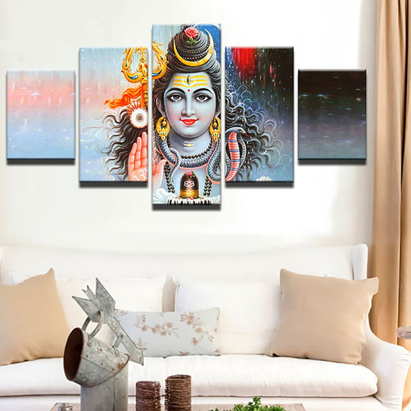 Modular Poster Home Decor Frame HD Printed 5 Piece/Pcs God Of India Shiva Painting Wall Art Modern Canvas Living Room Pictures