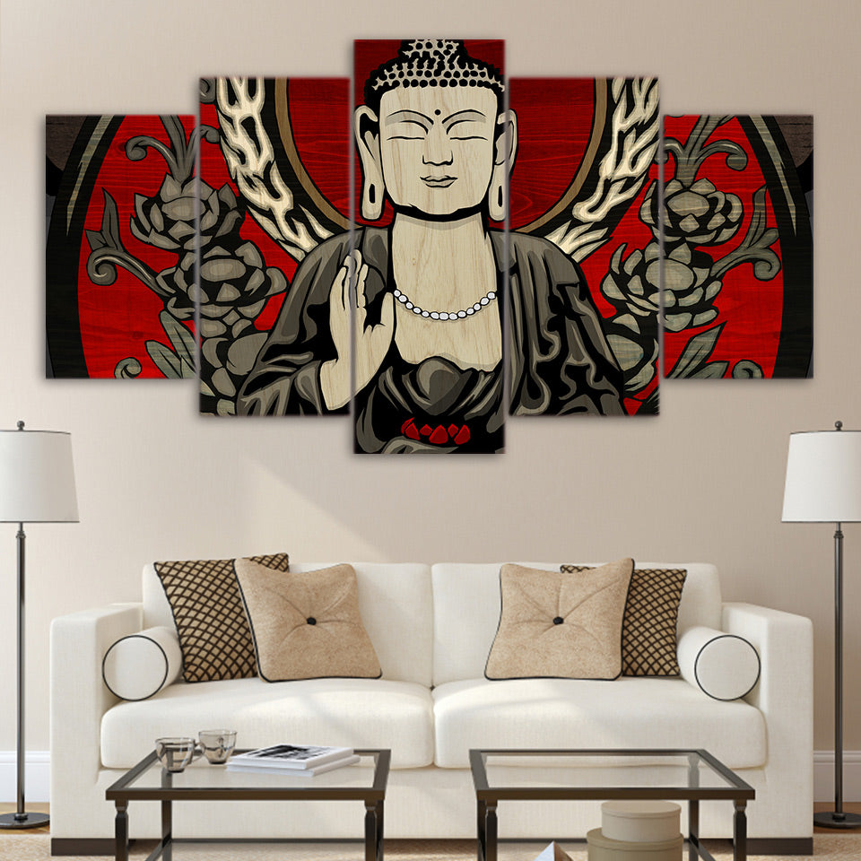 Decor Printed Modular Posters Pictures Painting Wall Art 5 Piece/Pcs Buddha Landscape Modern Canvas Living Room Frame HD Home