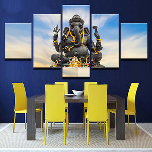 Living Room Wall Art Pictures HD Printed 5 Piece/Pcs India Elephant God Modern Painting On Canvas Home Decor Poster Framework