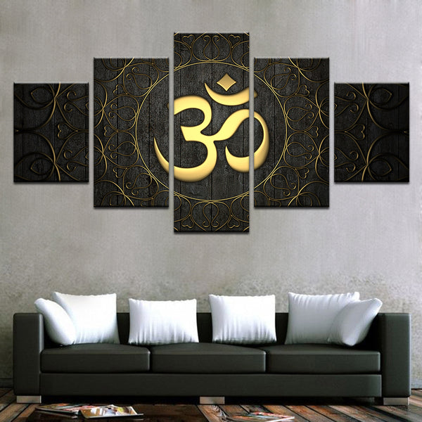 Home Decor For Living Room HD Prints Modern Canvas Wall Art Poster 5 Piece Buddha OM Yoga Painting Golden Symbol Pictures