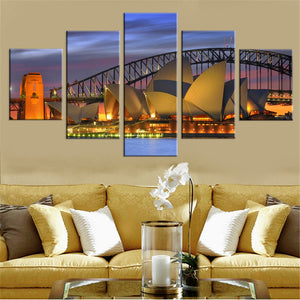 Fashion Canvas Painting Wall Art Prints Home Decoration 5 Panel Sydney Opera House Modular Pictures For Living Room Framed