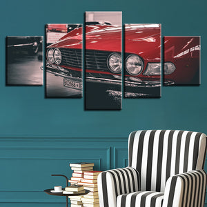 Decoration For Living Room Wall Art 5 Pieces Red Cars Canvas Paintings Framed Modular Poster HD Printed Modern Pictures Artworks