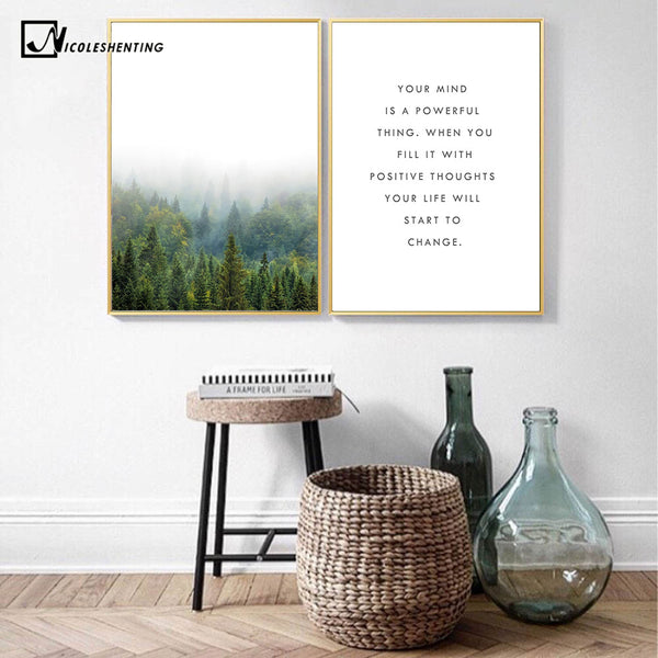 NICOLESHENTING Motivational Quote Minimalism Art Canvas Poster Foggy Forest Landscape Wall Picture Print Modern Home Decoration