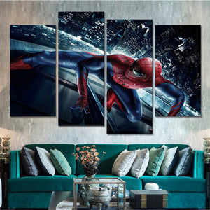 Canvas Painting Poster For Living Room Modern 4 Panel Super Hero Spider Man Wall Art Home Decor Framework HD Printed Pictures