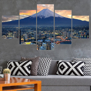 Frame Living Room Home Decoration Wall Art Posters 5 Panel Japan City Landscape Modern Painting On Canvas HD Printed Pictures