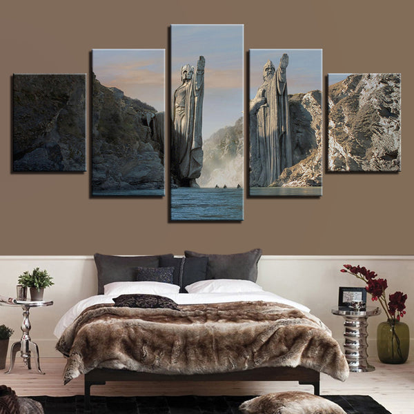 HD Print Framework Poster Art Canvas Painting 5 Panel Statues In Lord Of The Rings Modular Picture Wall For Living Room