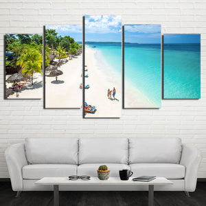 Art Painting HD Printed Canvas Poster Home Decor 5 Piece/Pcs Tropical Beach Blue Sea Framed Wall Living Room Modular Pictures