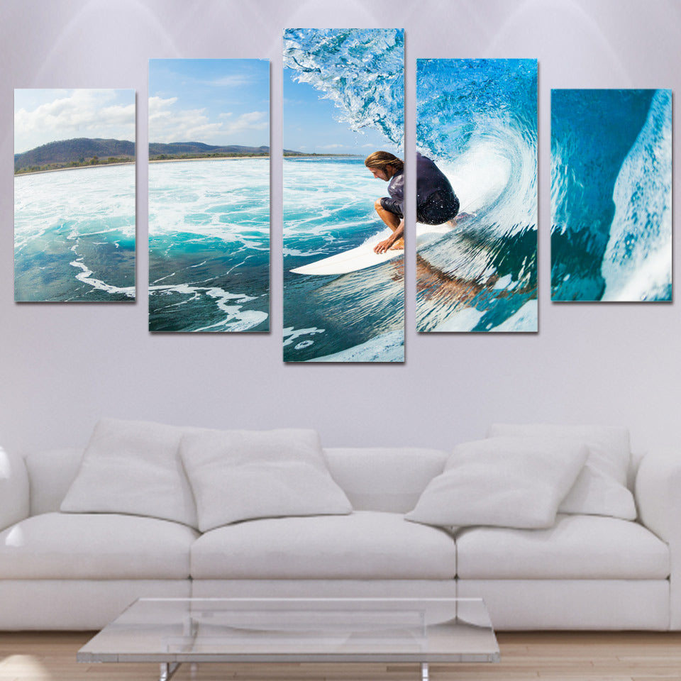 Living Room Wall Art Pictures HD Printed 5 Piece/Pcs Men Sea Surf Landscape Modern Painting On Canvas Home Decor Poster Frame