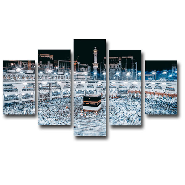 Wall Art Pictures Home HD Printed Painting 5 Piece/Pcs Mosque Mecca Night Landscape Modern Decoration Poster Frame Living Room