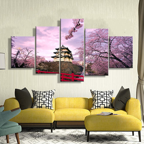 Home Decoration Pictures Vintage 5 Panel Cherry Blossom Japan Framework Paintings On Canvas Posters And Prints On The Wall